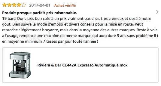 Avis Amazon Riviera machine a cafe manuelle