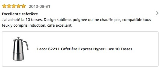Avis Amazon Cafetiere Italienne Lacor