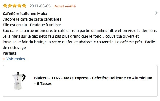 Avis Amazon Moka Express